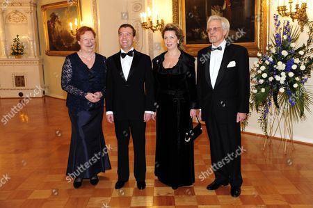 Finland's President Tarja Halonen, Russian President Dmitry Medvedev, Mrs Svetlana Medvedeva and Dr Pentti Arajarvi