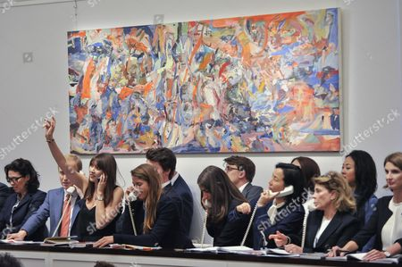 'The Circus Animals' Desertion', 2014-15, by Cecily Brown sold for a hammer price of GBP925k (Est. GBP800-1,200k) at the Italian and Contemporary Art evening auction at Sotheby's