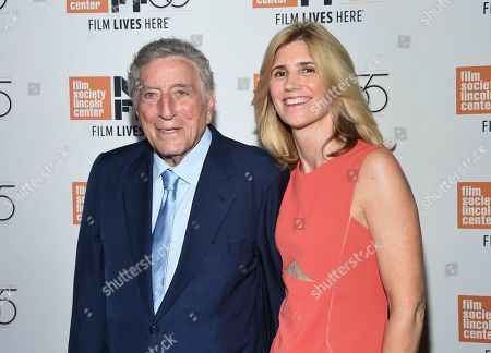 """Tony Bennett, Susan Benedetto. Singer Tony Bennett and wife Susan Benedetto attend the world premiere of """"Spielberg,"""" during the 55th New York Film Festival, at Alice Tully Hall, in New York"""