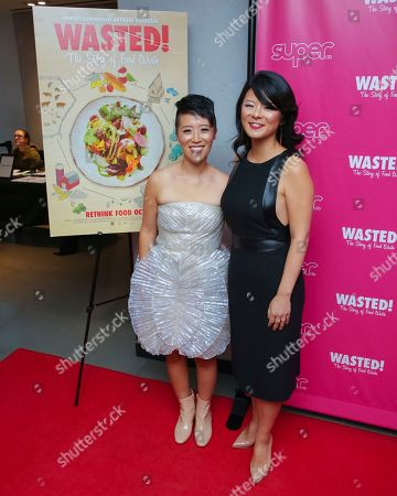 """Nari Kye, Anna Chai. Directors Nari Kye, left, and Anna Chai attend the premiere of """"Wasted! The Story of Food Waste"""" at the Alamo Drafthouse Cinema, in New York"""