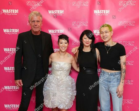 """Anthony Bourdain, Nari Kye, Anna Chai, Danny Bowien. Executive Producer and narrator chef Anthony Bourdain, from left, directors Nari Kye, Anna Chai and chef Danny Bowien attend the premiere of """"Wasted! The Story of Food Waste"""" at the Alamo Drafthouse Cinema, in New York"""