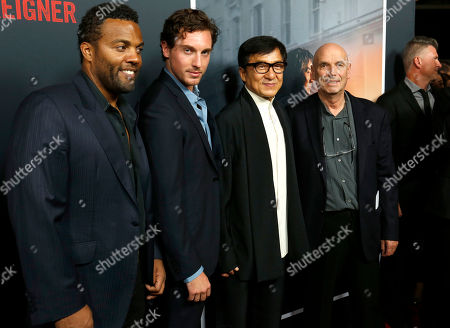 """Ray Fearon, Rory Fleck Byrne, Jackie Chan, Martin Campbell. Ray Fearon, from left, Rory Fleck Byrne, Jackie Chan and Martin Campbell arrive at the LA Premiere of """"The Foreigner"""" at the Arclight Hollywood, in Los Angeles"""