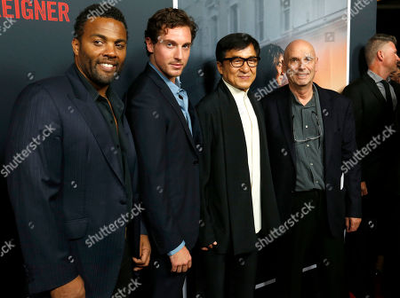 """Stock Photo of Ray Fearon, Rory Fleck Byrne, Jackie Chan, Martin Campbell. Ray Fearon, from left, Rory Fleck Byrne, Jackie Chan and Martin Campbell arrive at the LA Premiere of """"The Foreigner"""" at the Arclight Hollywood, in Los Angeles"""