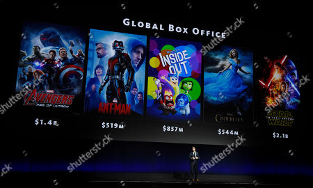 Dave Hollis, executive vice president of theatrical distribution for Walt Disney Studios Motion Pictures, discusses the box office performance of a few of the studio's latest releases during their presentation at CinemaCon 2016, the official convention of the National Association of Theatre Owners (NATO), at Caesars Palace, in Las Vegas