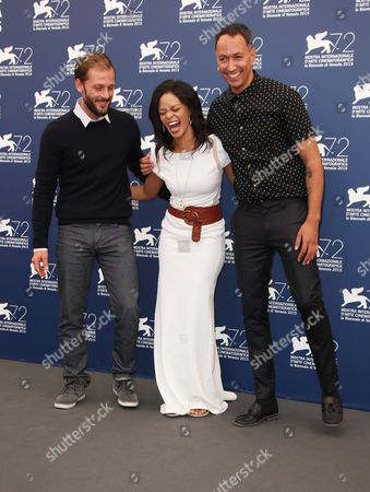 Nicolas Duvauchelle, Crystal-Donna Roberts and Oliver Hermanus pose for photographers at the photo call for the film The Endless River during the 72nd edition of the Venice Film Festival in Venice, Italy, . The 72nd edition of the festival runs until Sept. 12