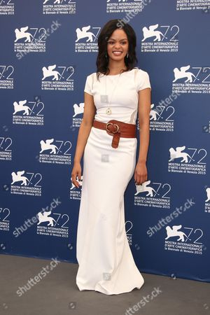 Stock Photo of Crystal-Donna Roberts poses for photographers at the photo call for the film The Endless River during the 72nd edition of the Venice Film Festival in Venice, Italy, . The 72nd edition of the festival runs until Sept. 12