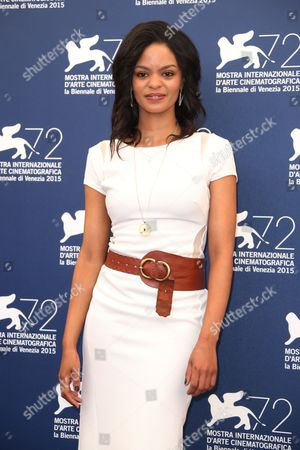 Crystal-Donna Roberts poses for photographers at the photo call for the film The Endless River during the 72nd edition of the Venice Film Festival in Venice, Italy, . The 72nd edition of the festival runs until Sept. 12