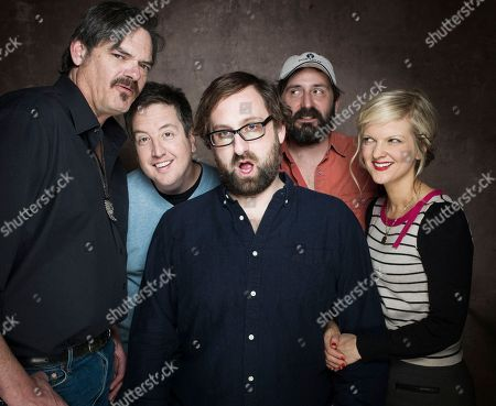 """From left, actors Mark Burnham, Steve Little, Eric Wareheim, writer/ director Quentin Depieux and actress Arden Myrin from the film """"Wrong Cops"""" posesfor a portrait during the 2013 Sundance Film Festival at the Fender Music Lodge on in Park City, Utah"""