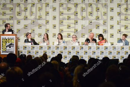 "Stock Picture of From left, Tim Stack, Tim Minear, Emma Roberts, Sarah Paulson, Kathy Bates, Michael Chiklis, Angela Bassett, and Evan Peters attend the ""American Horror Story"" panel on day 3 of Comic-Con International, in San Diego"