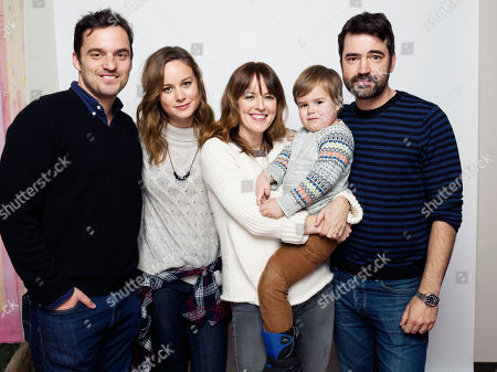 "Jake Johnson, from left, Brie Larson, Rosemarie DeWitt, Jude Swanberg and Ron Livingston pose for a portrait to promote the film, ""Digging for Fire"", at the Eddie Bauer Adventure House during the Sundance Film Festival, in Park City, Utah"