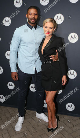 Former NFL player Kerry Rhodes and actress Nicky Whelan are pictured together at Moto@NYFW After Party, in New York