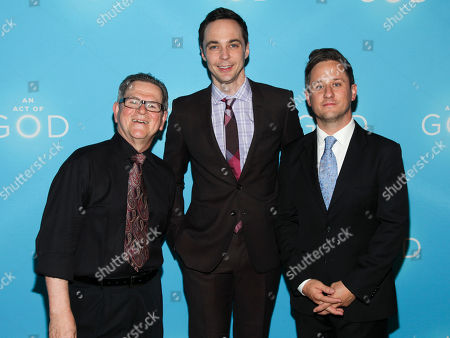 """Tim Kazurinsky, from left, Jim Parsons and Christopher Fitzgerald attend the Broadway opening of """"An Act Of God"""" at Studio 54, in New York"""