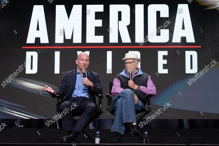 """Solly Granatstein, left, and Norman Lear participate in the """"America Divided"""" panel during the EPIX Television Critics Association summer press tour, in Beverly Hills, Calif"""