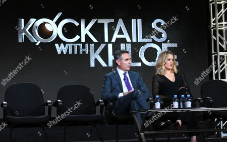 """Craig Piligian, left, and Khloe Kardashian participate in the panel for """"Kocktails with Khloe"""" at the FYI 2016 Winter TCA, in Pasadena, Calif"""