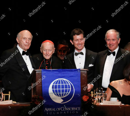 President and Founder of The Appeal of Conscience Foundation, Rabbi Arthur Schneier, Archibishop Emeritus of Washington and Vice President, Appeal of Conscience Foundation Cardinal Theodore E. McCarrick, 2015 Appeal of Conscience Award winner and Chief Executive Officer of Johnson & Johnson Alex Gorsky, and Co-Founder, Chairman and Chief Executive Officer of The Blackstone Group Stephen A. Schwarzman appear on stage at the 2015 Appeal of Conscience Awards, in New York