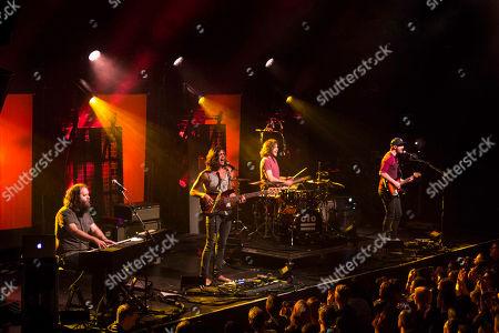 Dylan Kongos, Daniel Kongos, Jesse Kongos and Johnny Kongos with Kongos performs during the Lunatic Tour 2015 at Center Stage Theater, in Atlanta
