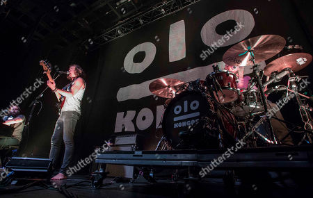 Dylan Kongos, Daniel Kongos, Jesse Kongos and Johnny Kongos with Kongos performs during the Lunatic Tour 2015 at Center Stage Theater, in Atlanta