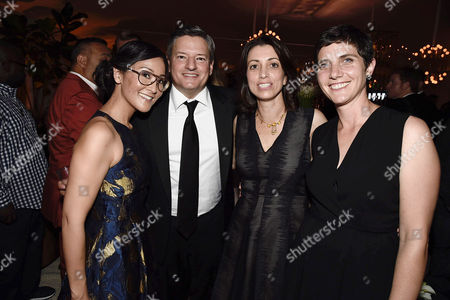 Lisa Nishimura, Netflix VP of Original Documentary and Comedy, Netflix Chief Content Officer Ted Sarandos, Laura Ricciardi and Moira Demos seen at Netflix 2016 Emmy Party at NeueHouse, in Los Angeles