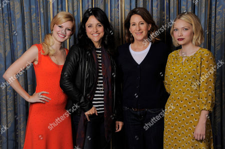 """Writer-director Nicole Holofcener, second right, of the film """"Enough Said,"""" poses with cast members, from left, Tracey Fairaway, Julia Louis-Dreyfus and Tavi Gevinson on day 4 of the 2013 Toronto International Film Festival on in Toronto"""