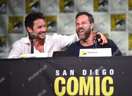 "Ian Bohen, left, and J. R. Bourne attend the ""Teen Wolf"" panel on day 1 of Comic-Con International, in San Diego"