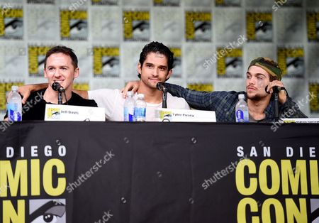 """Jeff Davis, from left, Tyler Posey and Dylan Sprayberry attend the """"Teen Wolf"""" panel on day 1 of Comic-Con International, in San Diego"""