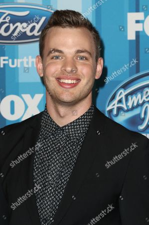 """Stock Image of Clark Beckham arrives at the """"American Idol"""" farewell season finale at the Dolby Theatre, in Los Angeles"""