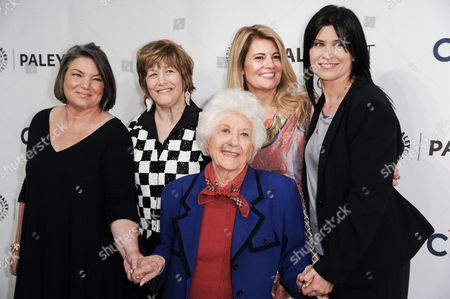 """From left, Mindy Cohn, Geri Jewell, Lisa Whelchel, Charlotte Rae, and Nancy McKeon, arrive at the 2014 PALEYFEST Fall TV Previews - """"The Facts Of Life"""" Reunion on Monday, Sept.15, 2014, in Beverly Hills, Calif"""
