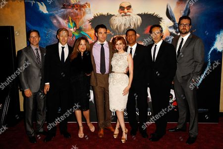 Bill Damaschke, Hamish Grieve, producer Christina Steinberg, actor Chris Pine, actress Isla Fisher, director Peter Ramsey, composer Alexandre Desplat and production designer Patrick Hanenberger are seen at the Rise of the Guardians premiere in Leicester square, in London