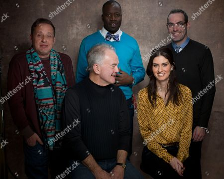"""From left, actors Richmond Arquette, Paul Eenhoorn, Demetrius Grosse, Sam Buchanan and writer/director Chad Hartigan from the film """"This Is Martin Bonner"""" pose for a portrait during the 2013 Sundance Film Festival on in Park City, Utah"""