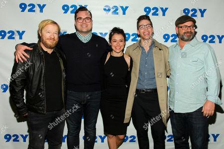"John Fawcett, from left, Kristian Bruun, Tatiana Maslany, Jordan Gavaris and Graeme Manson attend BBC America's ""Orphan Black"" cast photo call at 92Y, in New York"