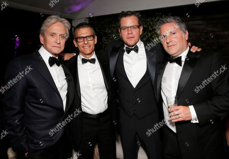 Actor Michael Douglas, HBO President of Programming Michael Lombardo, actor Matt Damon and Greg Jacobs at the Behind the Candelabra after party at the 66th international film festival, in Cannes, southern France