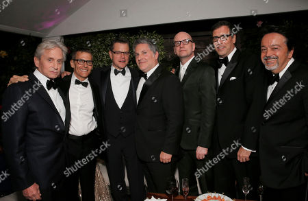 Actor Michael Douglas, HBO President of Programming Michael Lombardo, actor Matt Damon, Greg Jacobs, director Steven Soderberg, screenwriter Richard LaGravenese and HBO President of Films Len Amato at the Behind the Candelabra after party at the 66th international film festival, in Cannes, southern France
