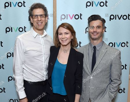 Jim Berk, CEO of Participant Media, and from left, Belisa Balaban, EVP, original programming, Pivot, and Pivot President Evan Shapiro pose backstage at the Pivot panel during the Summer TCAs, in Beverly Hills, Calif