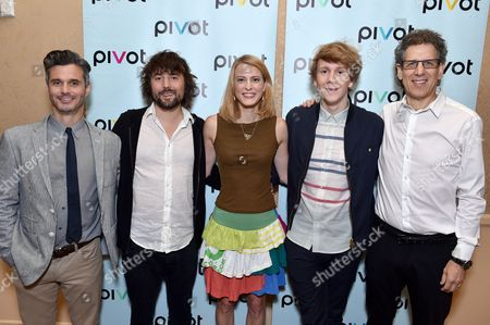 Pivot President Evan Shapiro and from left, Tom Szaky, TerraCycle Founder/CEO of 'Human Resources,' Tiffany Threadgould, TerraCycle chief design junkie of 'Human Resources', Josh Thomas, creator, writer and star of 'Please Like Me' and Jim Berk, CEO of Participant Media, pose backstage at the Pivot panel during the Summer TCAs, in Beverly Hills, Calif