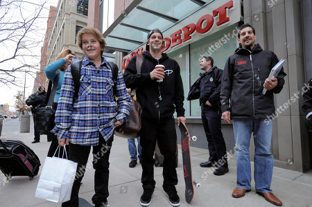 Ryan Sheckler, second from left, and his brother Kane, arrive to sign autographs for fans at the Office Depot ESPN X Games Preview in Denver on . The preview celebrates the opening of several entirely new Office Depot stores in Denver