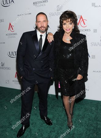Jewelry designer Alexis Bittar and actress Joan Collins attend the 17th Annual ACE Awards hosted by The Accessories Council at Cipriani 42nd Street, in New York