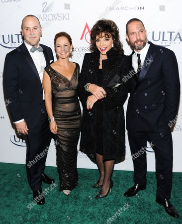 From left, Accessories Council chairman of the board Frank Zambrelli, Accessories Council president Karen Giberson, actress Joan Collins and jewelry designer Alexis Bittar, attend the 17th Annual ACE Awards hosted by The Accessories Council at Cipriani 42nd Street, in New York
