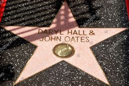 The star of pop music duo Daryl Hall and John Oates is pictured on the Hollywood Walk of Fame, in Los Angeles
