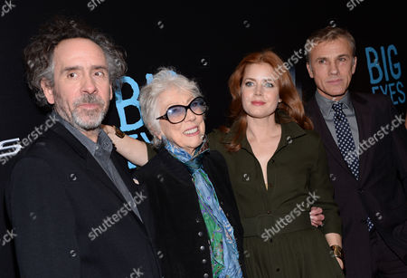 """Stock Picture of Director Tim Burton, from left, Margaret Keane, actors Amy Adams and Christoph Waltz attend the """"Big Eyes"""" premiere at the Museum of Modern Art in New York. The movie releases in the U.S. on Christmas Day, Dec. 25, 2014"""