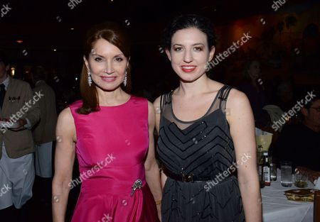 "Jean Shafiroff, left, and Kate Barker-Froyland pose at private LA dinner for ""Song One"" screening hosted by Jean Shafiroff with director Kate Barker-Froyland and Anne Hathaway at The Palm Restaurant, in Beverly Hills, California"