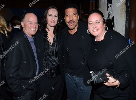 "From left, Kevin Allyn, Norah Lawlor, Lionel Richie and Susan Toomy pose at private LA dinner for ""Song One"" screening hosted by Jean Shafiroff with director Kate Barker-Froyland and Anne Hathaway at The Palm Restaurant, in Beverly Hills, California"