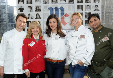 "Stock Picture of Celebrity chefs Alex Stupak, Food & Wine's Best New Chef 2013, Kelsey Nixon from the Cooking Channel, Claire Robinson of the Food Network, Donatella Arpaia from ""Iron Chef America"" and Suvir Saran, Chairman at the Culinary Institute of America, left to right, help McCormick celebrate their 125th anniversary and launch McCormick's Flavor of Together program, in New York"