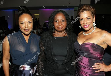 Stock Image of American actress Lynn Whitfield, from left CEO Africa Film Academy, Peace Anyiam-Osigwe and event host Rolanda Watts seen inside at 2015 AMAA Nominations Dinner at H.O.M.E., in Beverly Hills, Calif