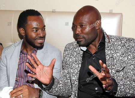 Stock Image of Nigerian actor OC Ukeje and Haitian actor Jimmy Jean-Louis seen inside at 2015 AMAA Nominations Dinner at H.O.M.E., in Beverly Hills, Calif