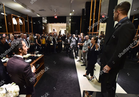 Stylist Jeanne Yang speaks at the Saks' Men's Formal Wear Shop Opening, in Beverly Hills, Calif