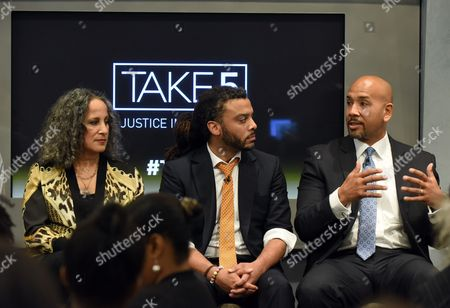 Panelists Gina Belafonte, left, Adam Foss, center, and Bronx Borough President Ruben Diaz Jr. participate in the SundanceNow Doc Club Take5 Justice in America panel, at The Paley Center for Media in New York. Take5 is a collection of five 5-minute short films exploring social justice issues. The series is available to view and share for free on DocClub.com beginning May 17th