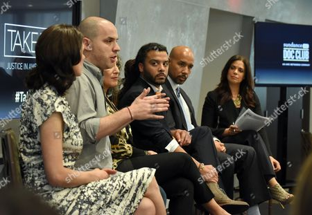 Moderator Soledad O'Brien, right, joins panelists Rachel Sklar, Michael Skolnik, Gina Belafonte, Adam Foss and Bronx Borough President Ruben Diaz Jr., left to right, at the SundanceNow Doc Club Take5 Justice in America panel, at The Paley Center for Media in New York. Take5 is a collection of five 5-minute short films exploring social justice issues. The series is available to view and share for free on DocClub.com beginning May 17th
