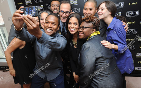 Filmmaker Sheldon Candis takes a selfie with Josh Sapan, center, President & CEO, AMC Networks, moderator Soledad Oâ?™Brien, center right, Marcus Lee, back right, GM, SundanceNow Doc Club, filmmaker Rachel Lears, right, and film subject Tianna Gaines-Turner, bottom right, before the SundanceNow Doc Club Take5 Justice in America panel, at The Paley Center for Media in New York. Take5 is a collection of five 5-minute short films exploring social justice issues. The series is available to view and share for free on DocClub.com beginning May 17th