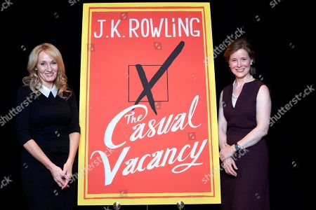 "This photo shows author J.K. Rowling, left, and fellow author Ann Patchett at an appearance to promote her latest book ""The Casual Vacancy,"" at The David H. Koch Theater in New York. Rowling, the popular author of the ""Harry Potter"" series, spoke for just over an hour before a capacity crowd in her sole U.S. public appearance to promote her first novel for grownups"