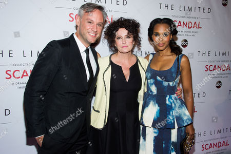 Elliot Staples, left, Lyn Paolo and Kerry Washington attends The Limited Collection Inspired by Scandal launch party on in New York